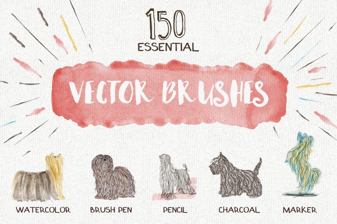 Essential-Vector-Brushes-for-Illustrator 25+ Best Free Adobe Illustrator Brushes 2021 design tips