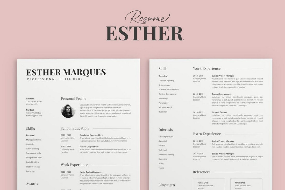 Esther - Professional Resume Template for Pages
