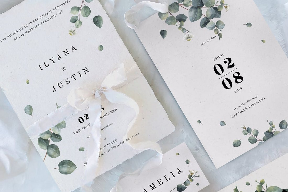 Eucalyptus-Foliage-Wedding-Templates 15+ Gorgeous Save the Date Wedding Templates design tips
