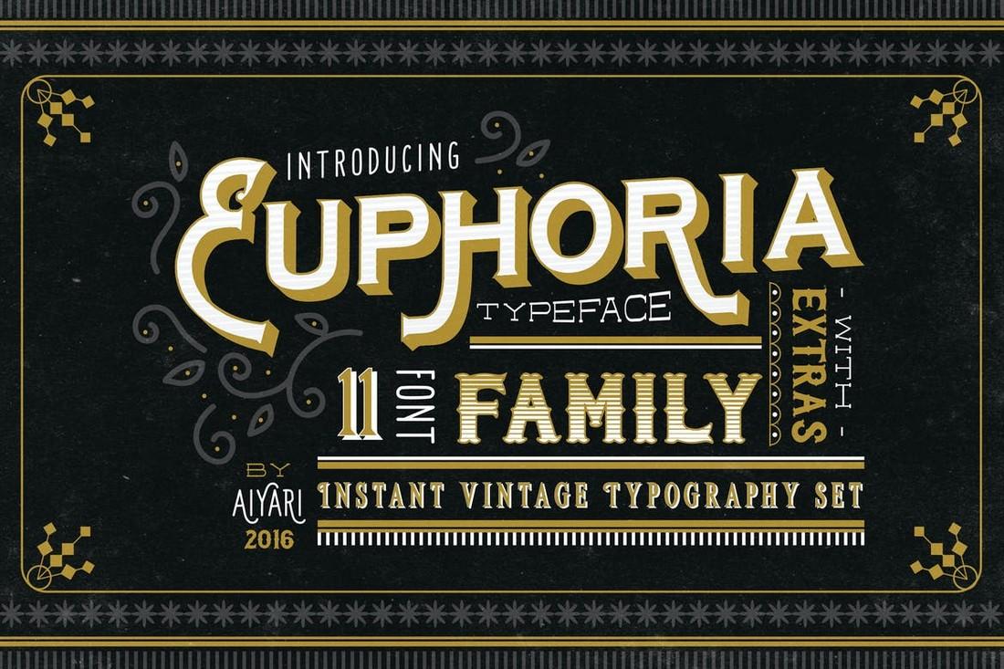 Euphoria - Vintage 3D Font Family