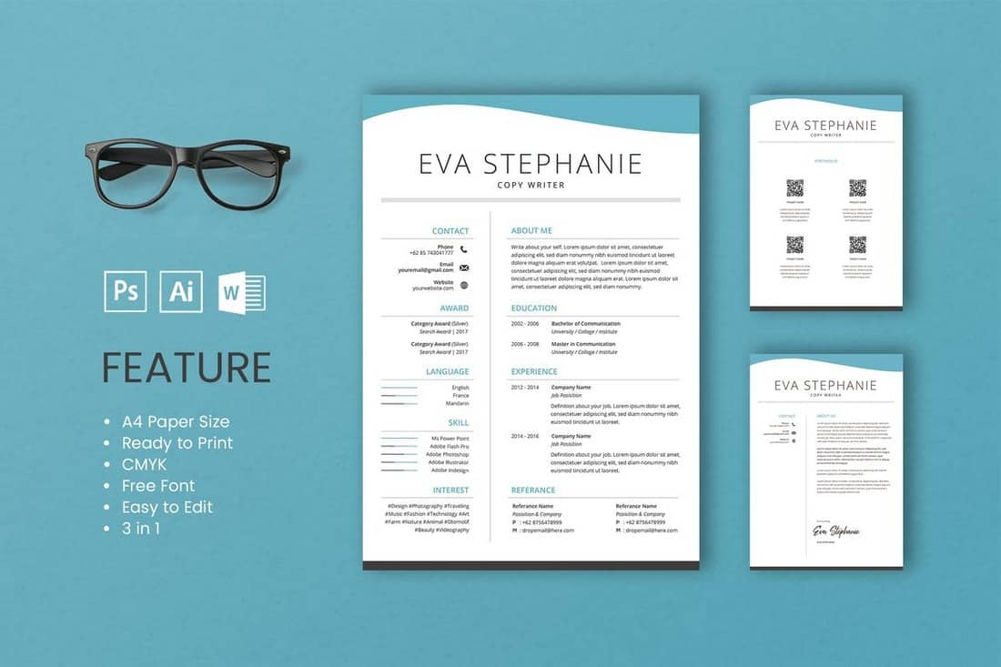 Eva-Professional-CV-And-Resume-Template 50+ Best CV & Resume Templates 2020 design tips