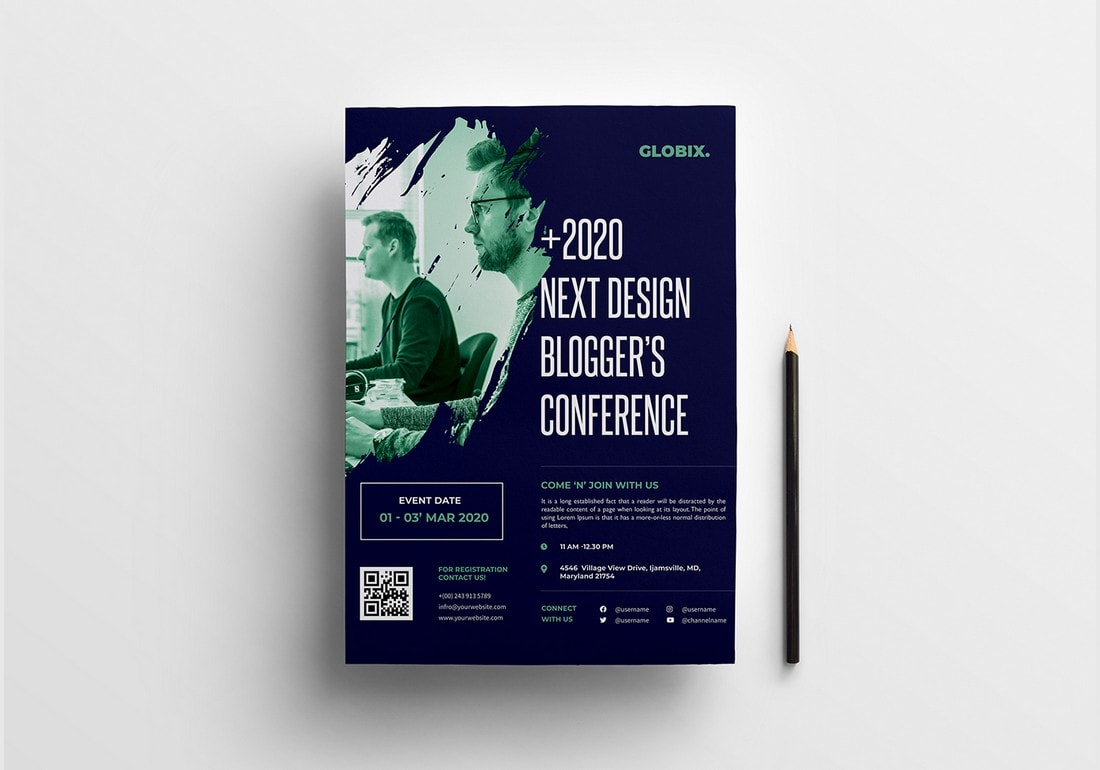 Event-Conference-Poster-Template 20+ Best Free Poster Templates (Illustrator & Photoshop) 2020 design tips  Inspiration