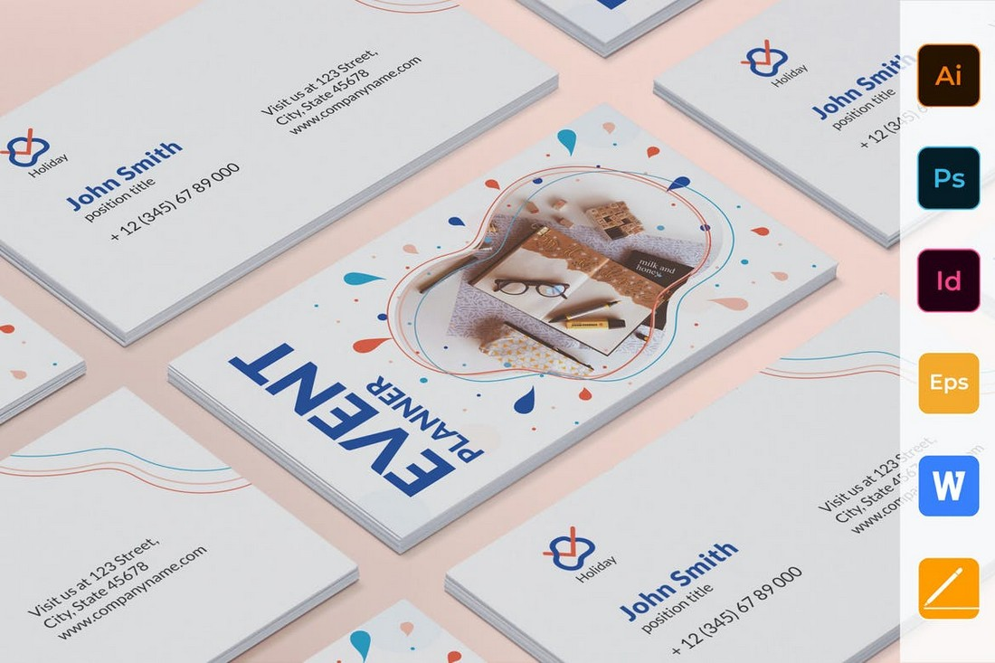 Event Planner Business Card Word & PSD