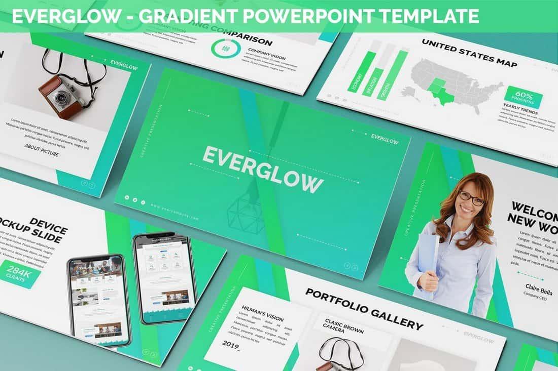 Everglow - Modèle PowerPoint de gradient  30+ Meilleurs modèles PowerPoint pour Science et technologie Everglow Gradient Powerpoint Template
