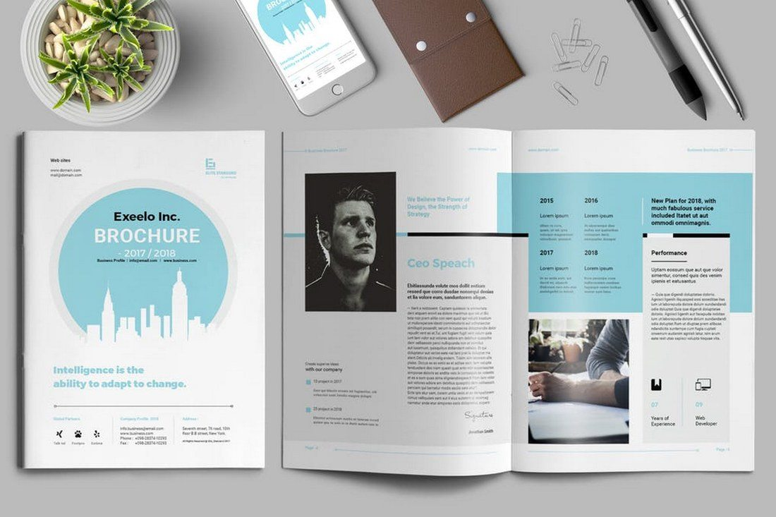 70 modern corporate brochure templates design shack a professional business brochure template featuring 24 pages the template also comes in both a4 and us letter sizes and includes an easily editable design wajeb Images