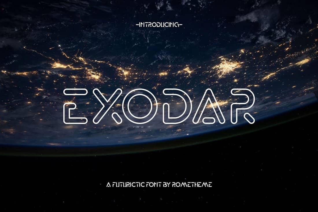Exodar - Futuristic Outline Font