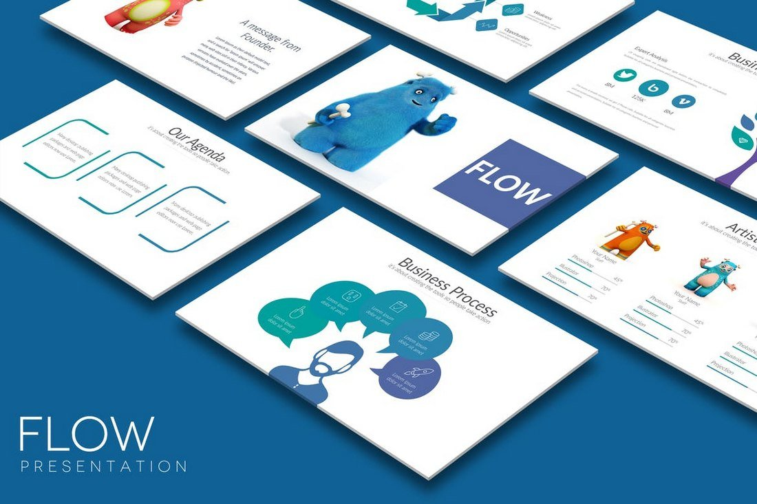 FLOW-Cool-Powerpoint-Template 20+ Best Cool PowerPoint Templates design tips