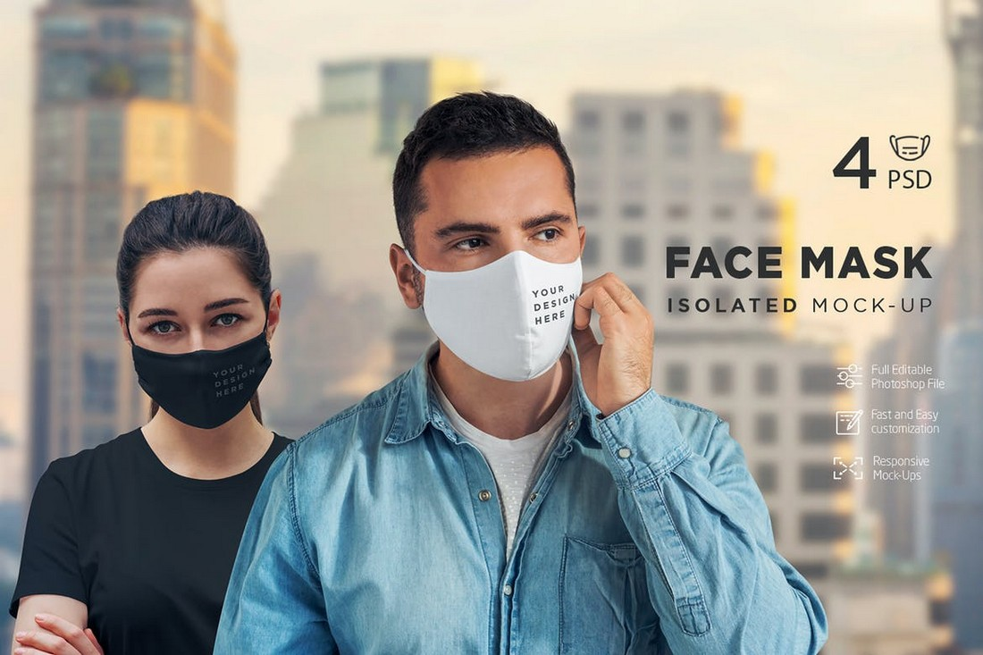 Face Mask Isolated Mockup Template