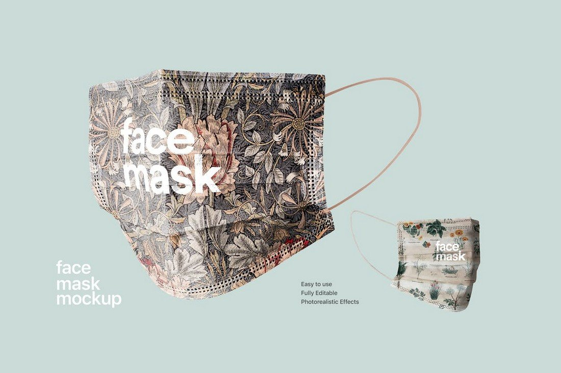 Face Mask Mockup with Closeup View