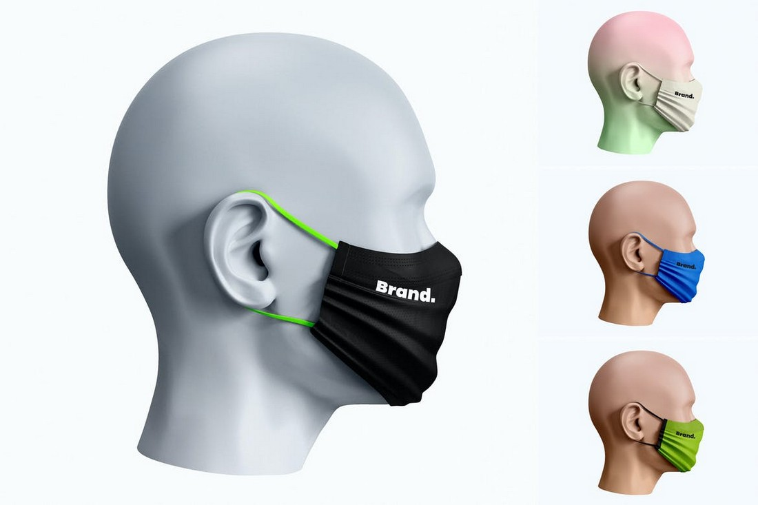 Face Mask Mockup with Side View