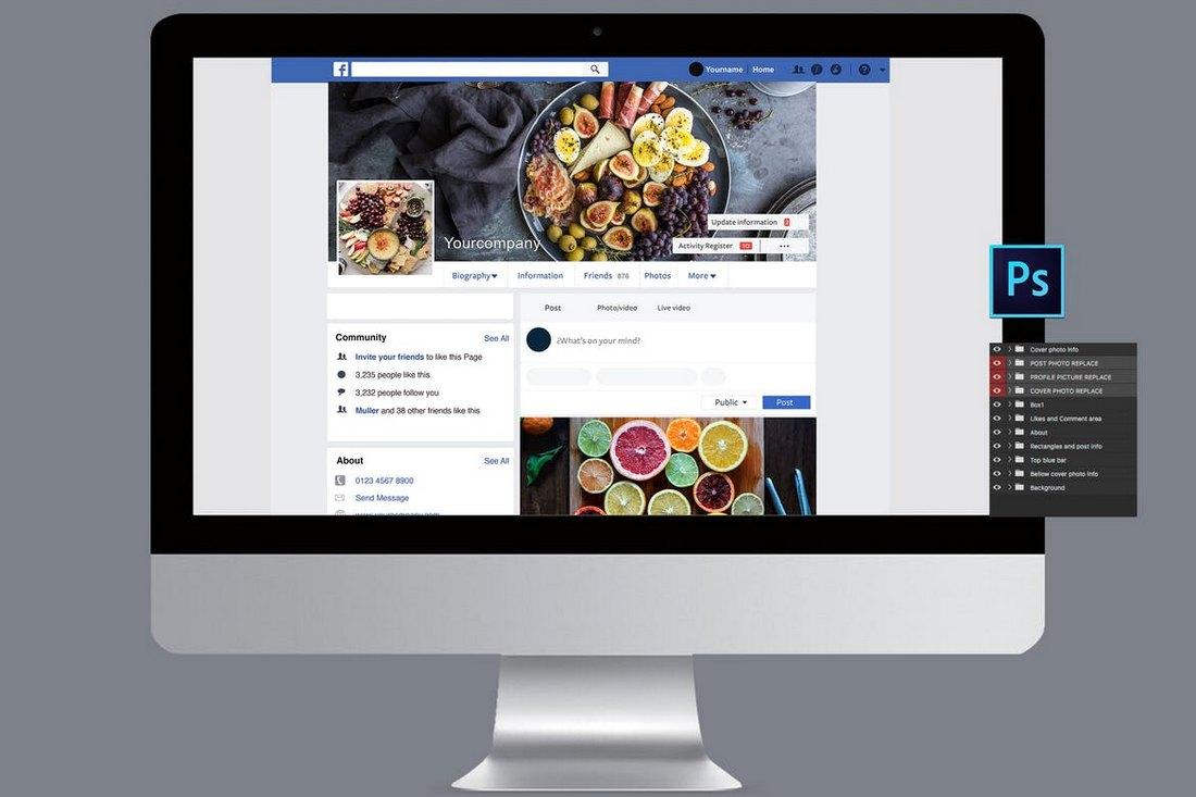 Facebook Desktop Page Mockup