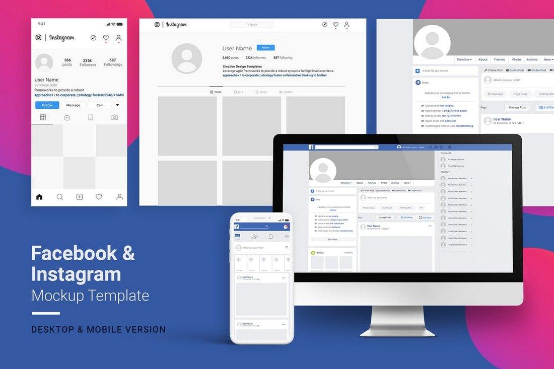 Facebook & Instagram Mockup Template