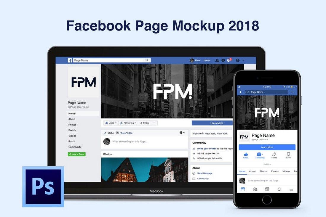 Facebook-Page-Desktop-Mobile-Mockup 20+ Best Facebook Cover & Post Mockups design tips