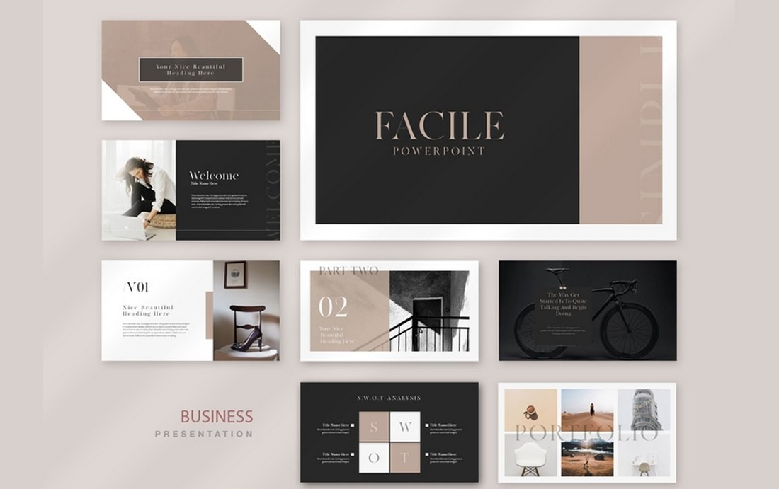 Facile - Free Business Profile PowerPoint Template