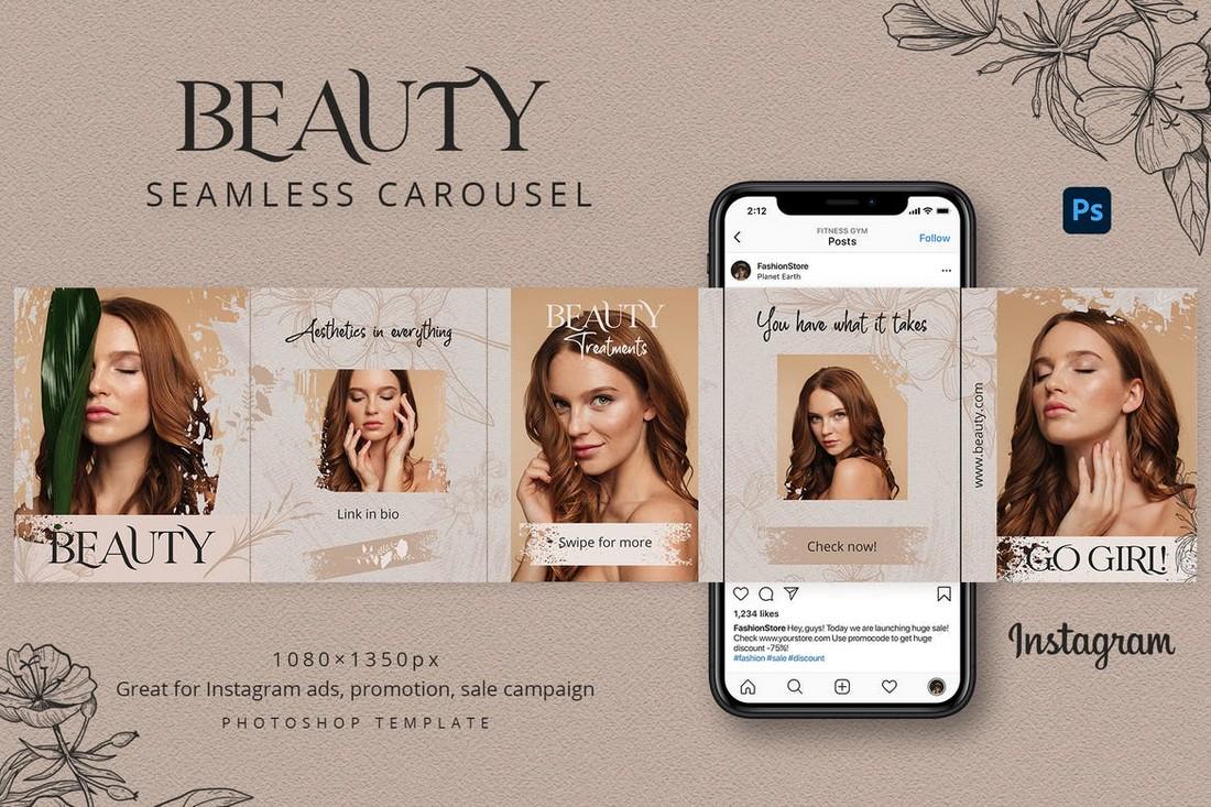 Fashion & Beauty Seamless Instagram Carousel Template