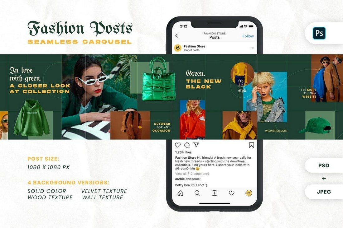 Fashion Green - Carousel Instagram Feed Template