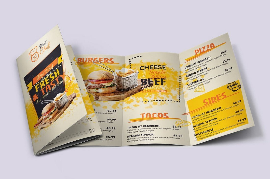 Fast Food Tri-Fold Food and Drink Menu Template