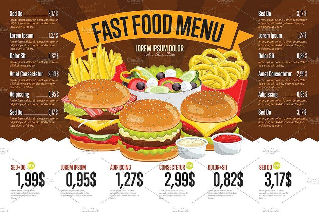 Lovely Fast Food Menu Template