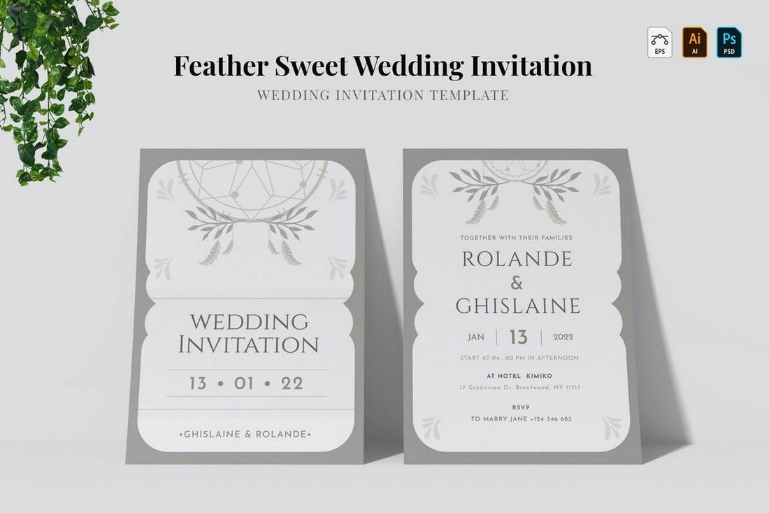 Feather Sweet - Minimal Wedding invitation Template