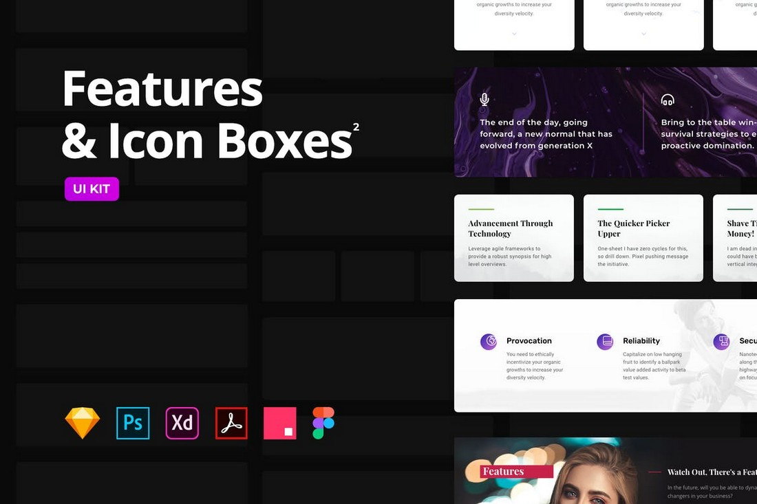 Features-Icon-Boxes-Multipurpose-Templates 30+ Best Adobe XD UI Kits + Templates 2020 design tips
