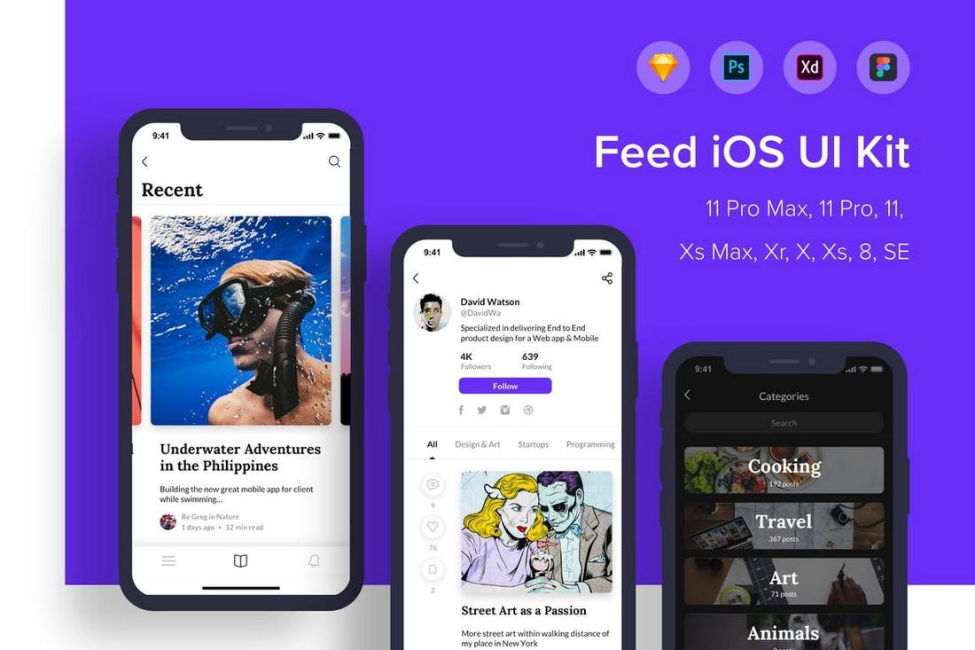 Feed iOS UI Kit Figma Templates