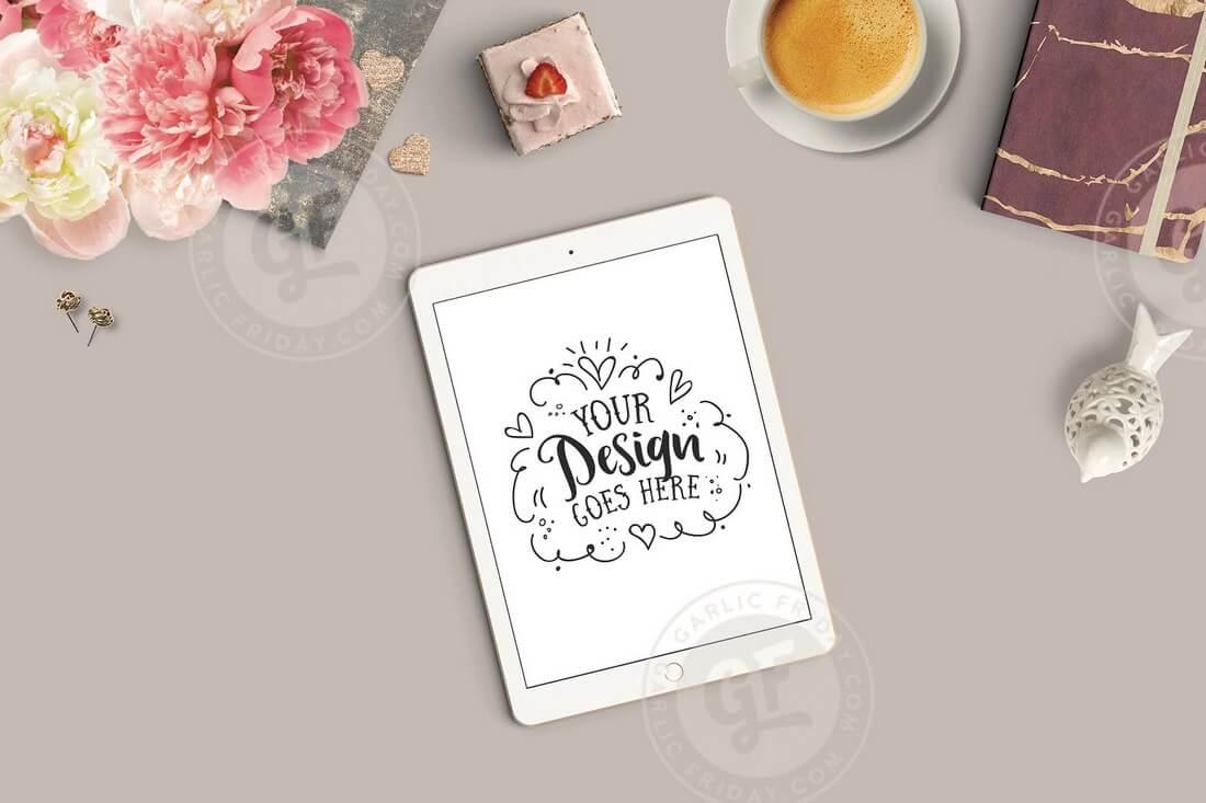 Feminine-Styled-Stock-Photo-iPad 100+ iPad Mockups: PSDs, Photos & Vectors design tips