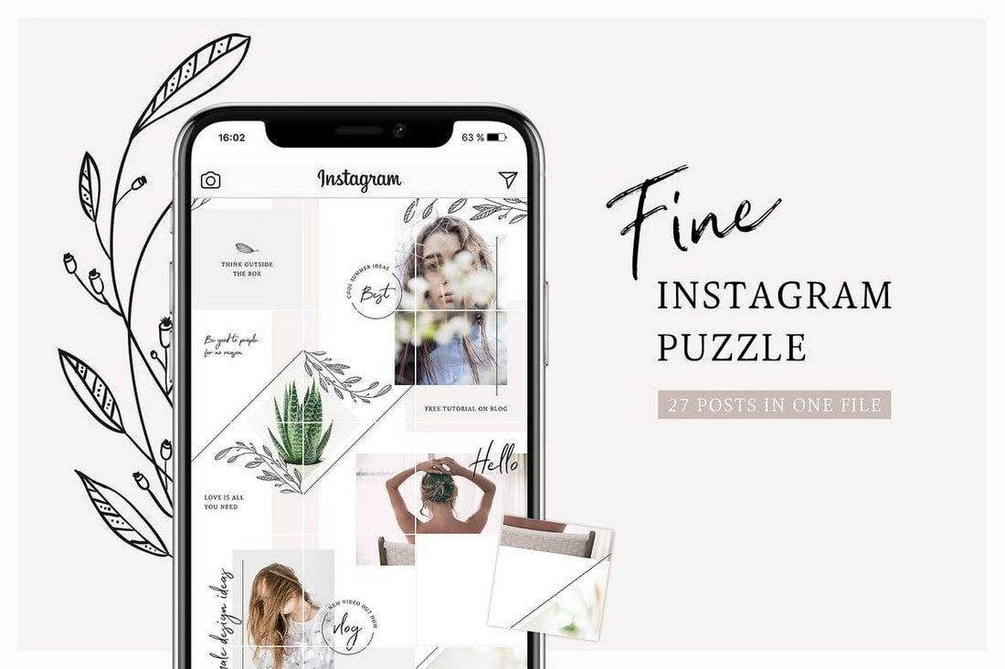 Fine - Instagram Feed Puzzle Template