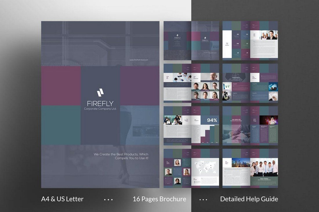 another brochure template for designing the perfect document for a corporate business this template is also print ready and features 16 pages