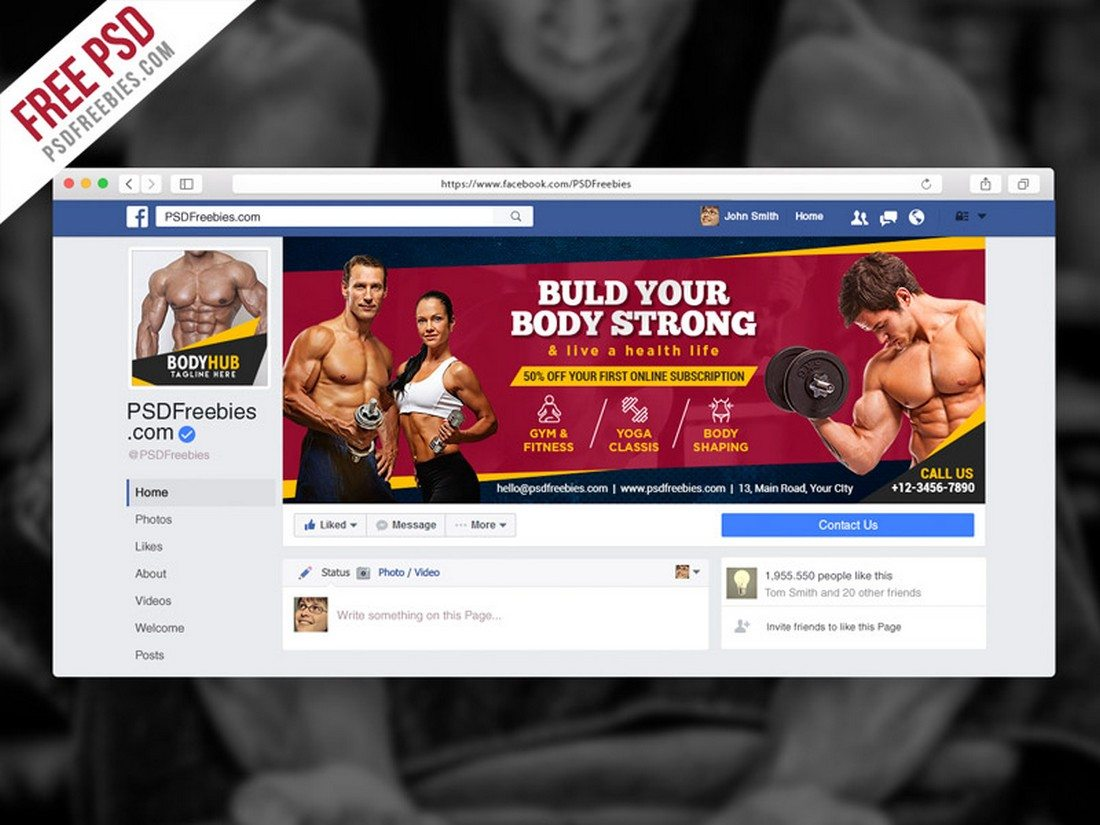 Fitness-Gym-Facebook-Fanpage-Cover-PSD-Template 20+ Best Facebook Cover & Post Mockups design tips
