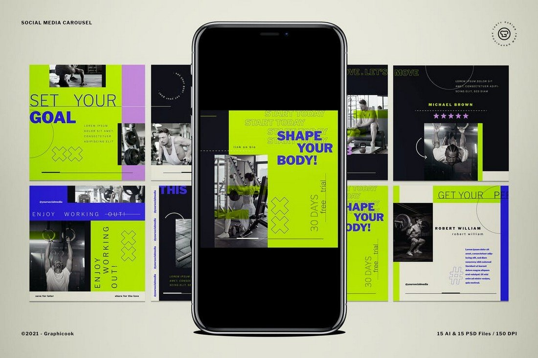 Fitness & Gym Instagram Carousel Template