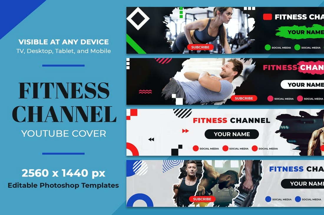 Fitness & Gym Youtube Channel Art Template