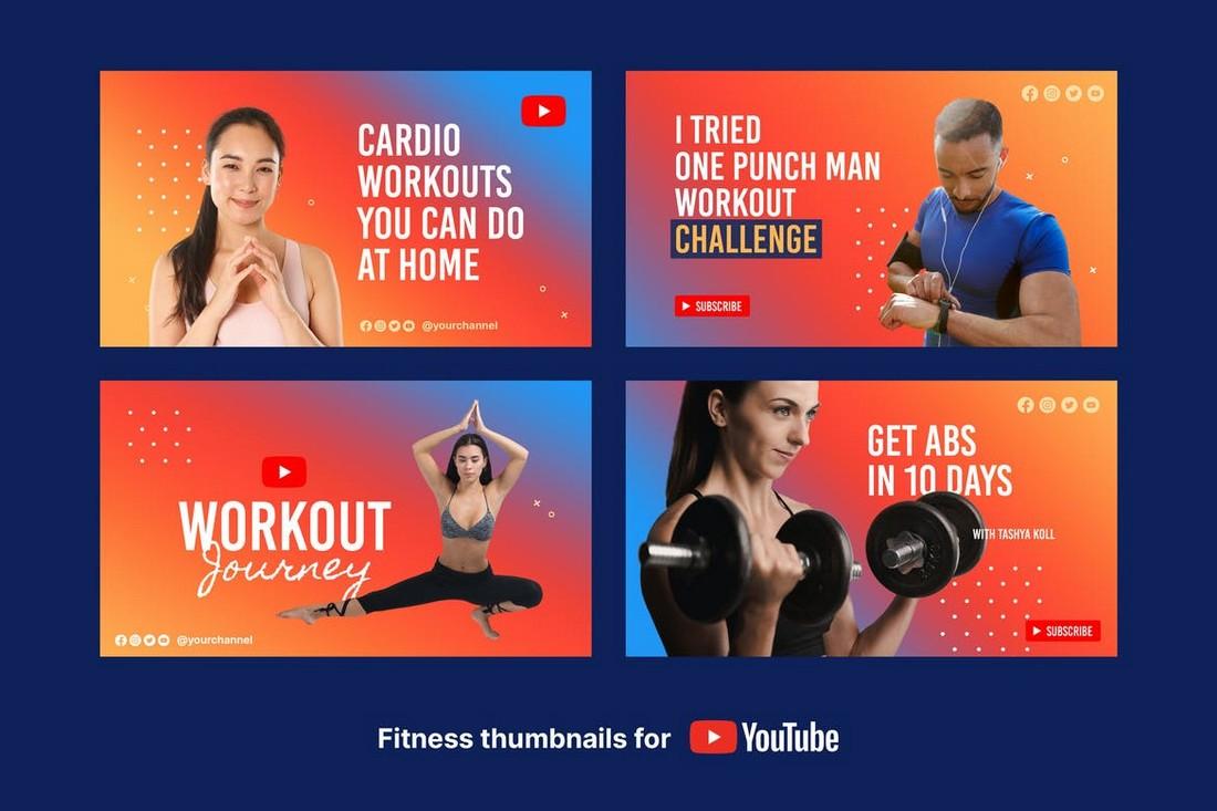 Fitness & Workout Youtube Thumbnail Templates