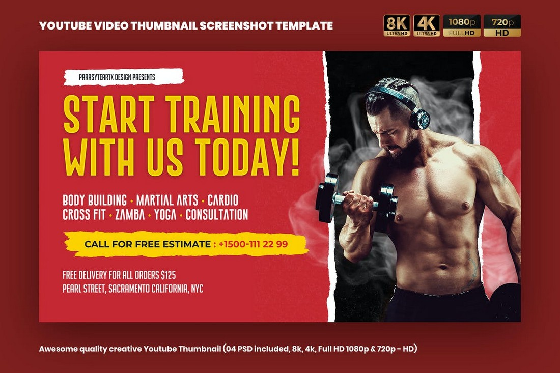 Fitness-YouTube-Thumbnail-Template 20+ Best YouTube Thumbnail Templates in 2021 design tips