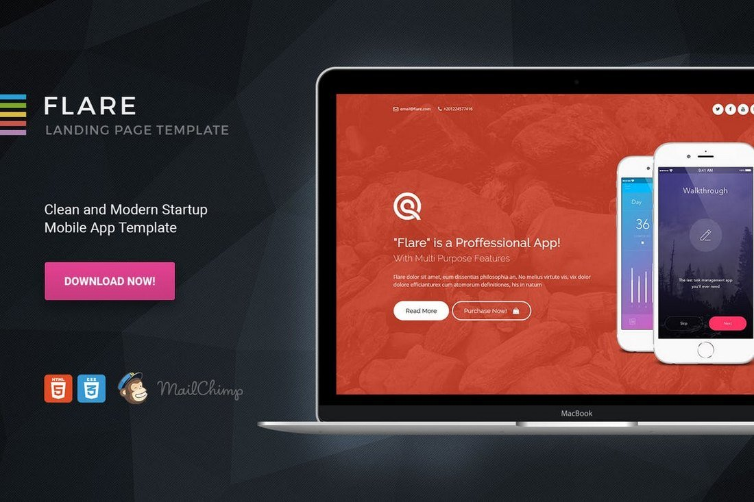 Flare-HTML-App-Landing-Page-Template 35+ Best App Landing Page Templates 2019 design tips