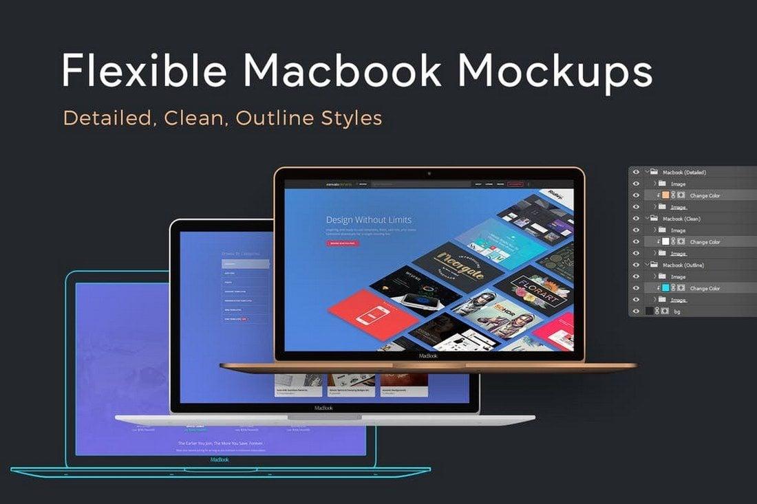 Flexible-Macbook-Mockups 100+ MacBook Mockup Templates (PSD & Vector) design tips
