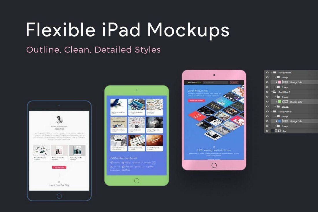 Flexible-iPad-Mockups 100+ iPad Mockups: PSDs, Photos & Vectors design tips