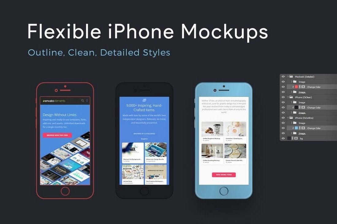 Flexible-iPhone-Mockups 100+ iPhone PSD & Vector Mockups design tips