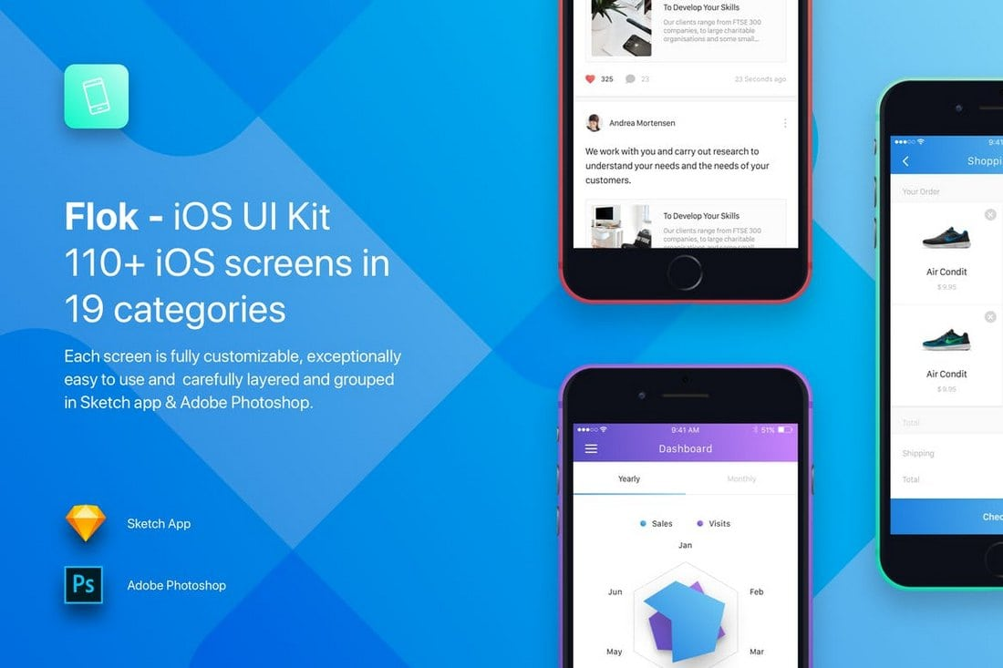 Flok - iOS UI Kit Sketch Templates