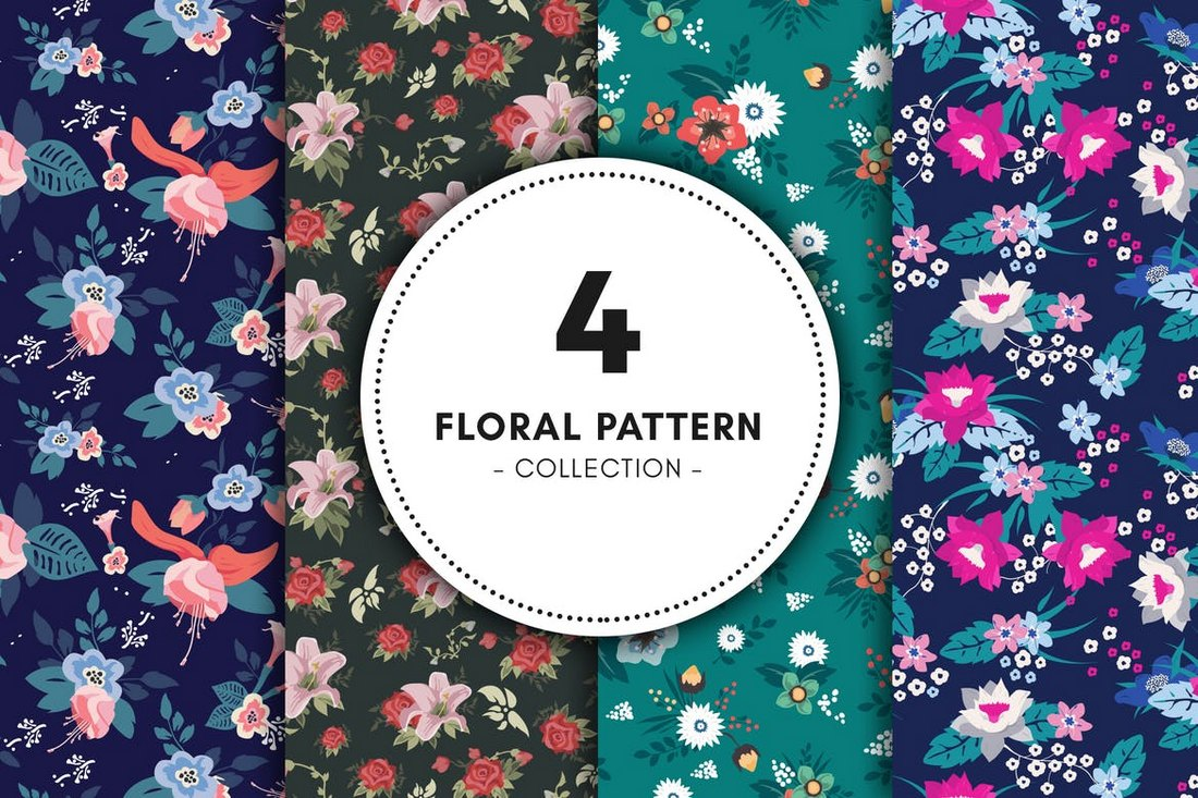 Collection de fond de motifs floraux