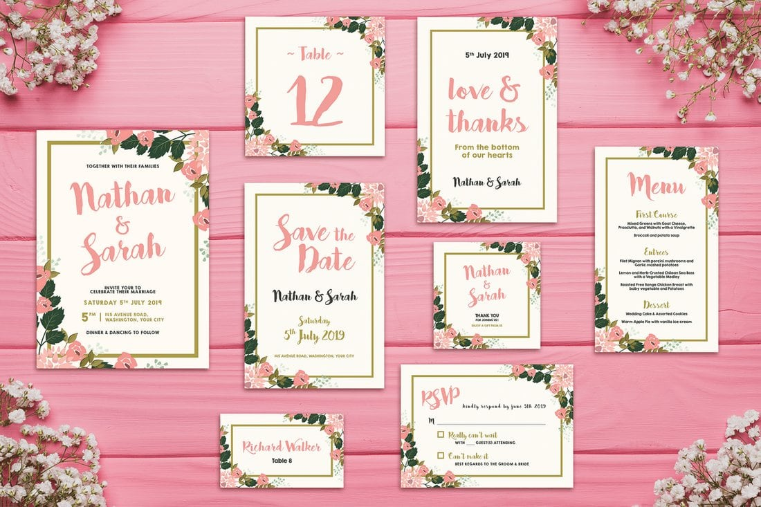 Wedding Invitation Suite Templates: 65+ Gorgeous Wedding Invitation Templates