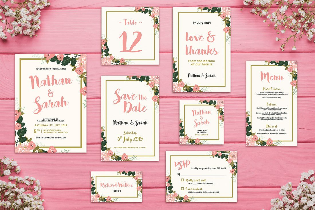 This Is A Bundle Full Of All The Templates You Need To Create Many Different Types Invitations For Wedding Including Save Date Thank Card