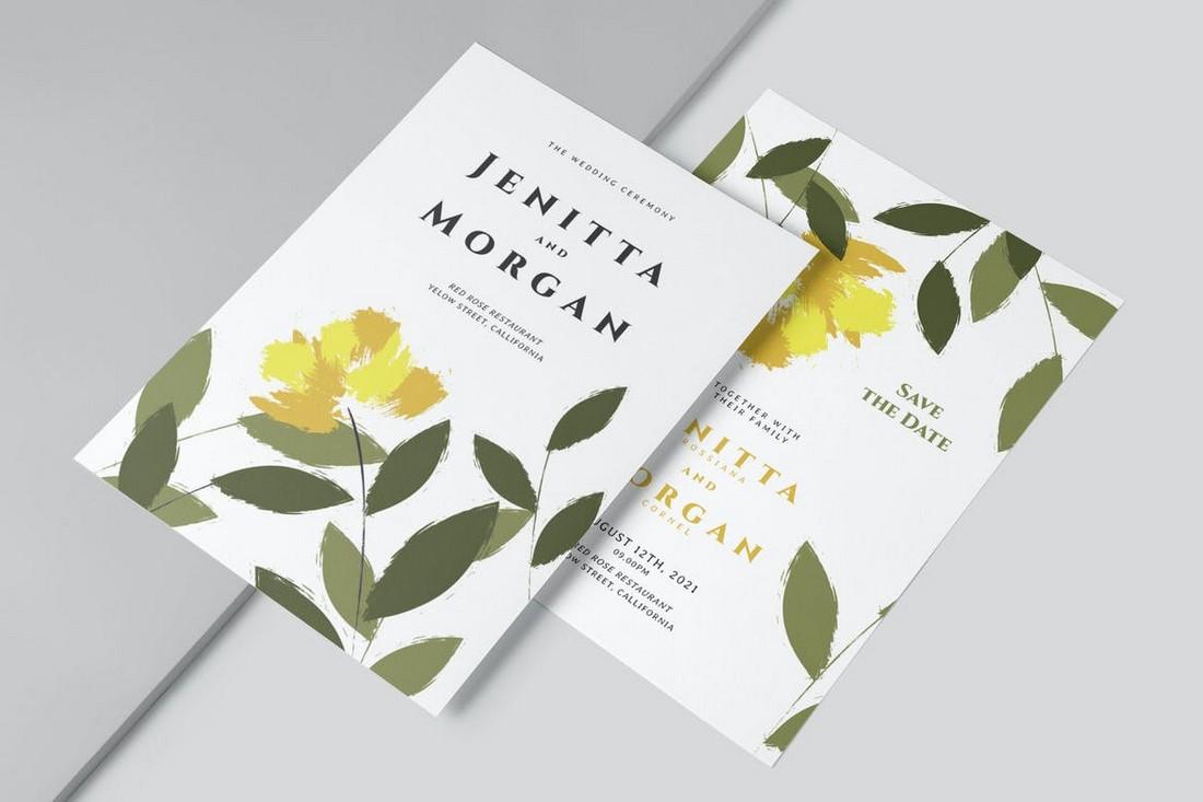 Flower Brush Wedding Invitation Template
