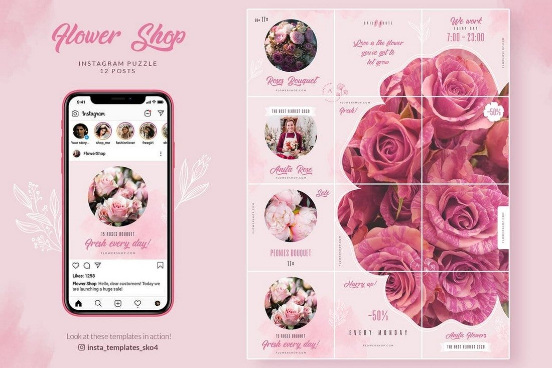 Flower Shop - Instagram Feed Puzzle Theme