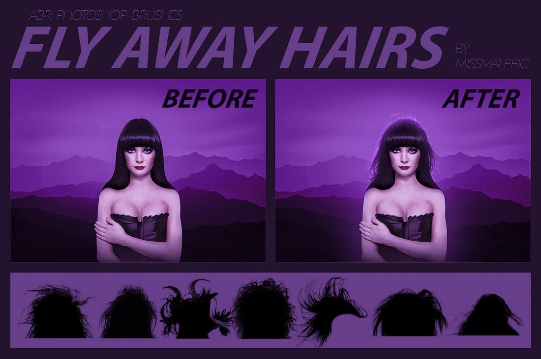 Fly Away Free Photoshop Hair Brushes