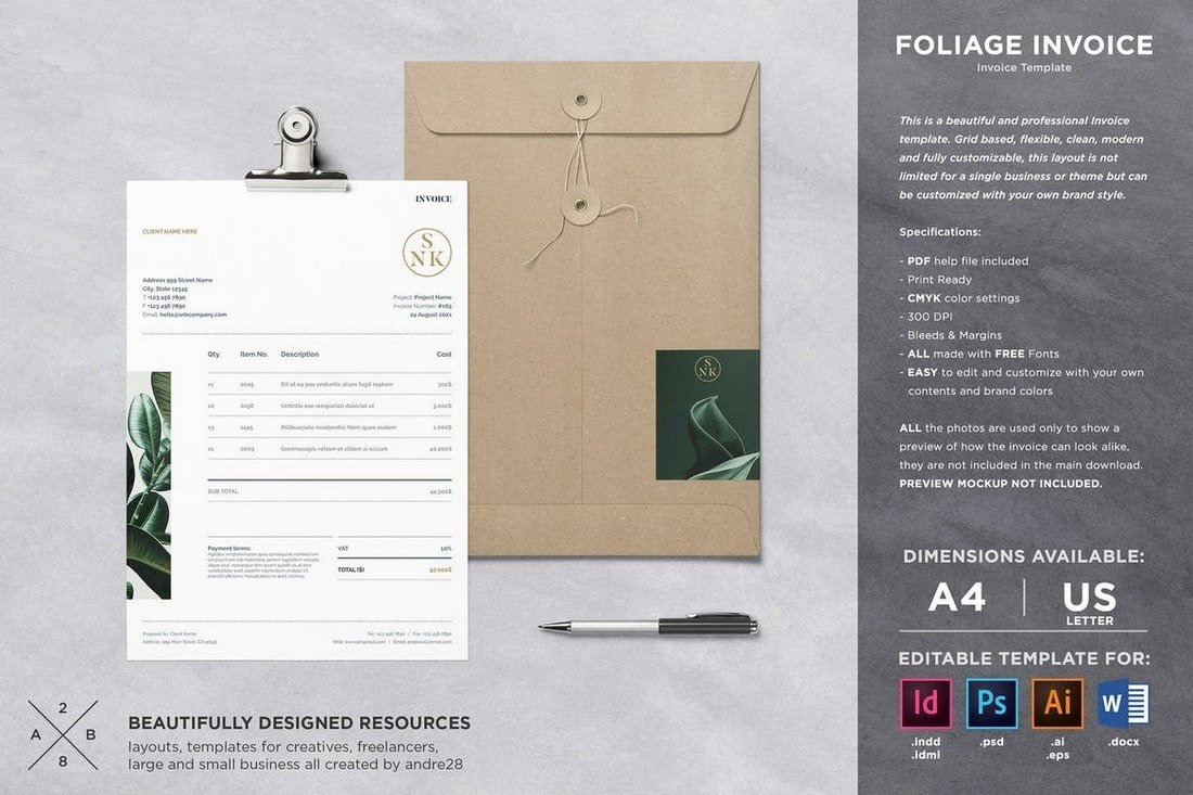 Foliage-Elegant-Business-Invoice-Template 20+ Best Invoice Templates for InDesign & Illustrator (Free + Premium) design tips  Inspiration