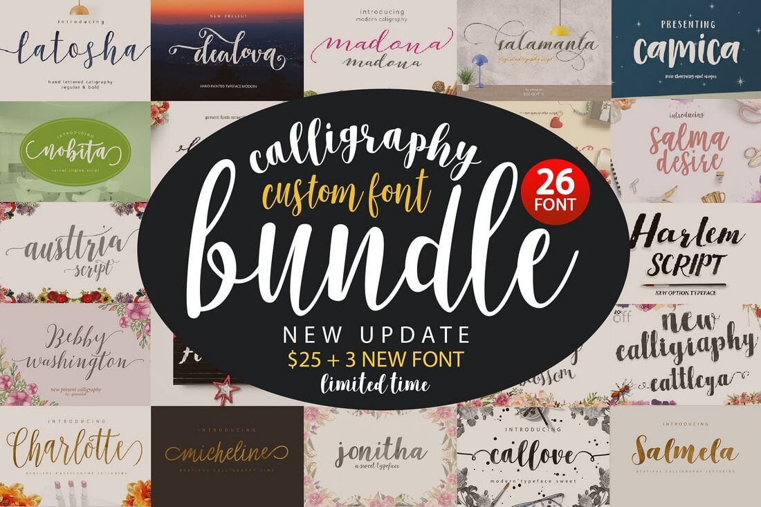 Font-Bundle-Caligraphy 100+ Beautiful Script, Brush & Calligraphy Fonts design tips