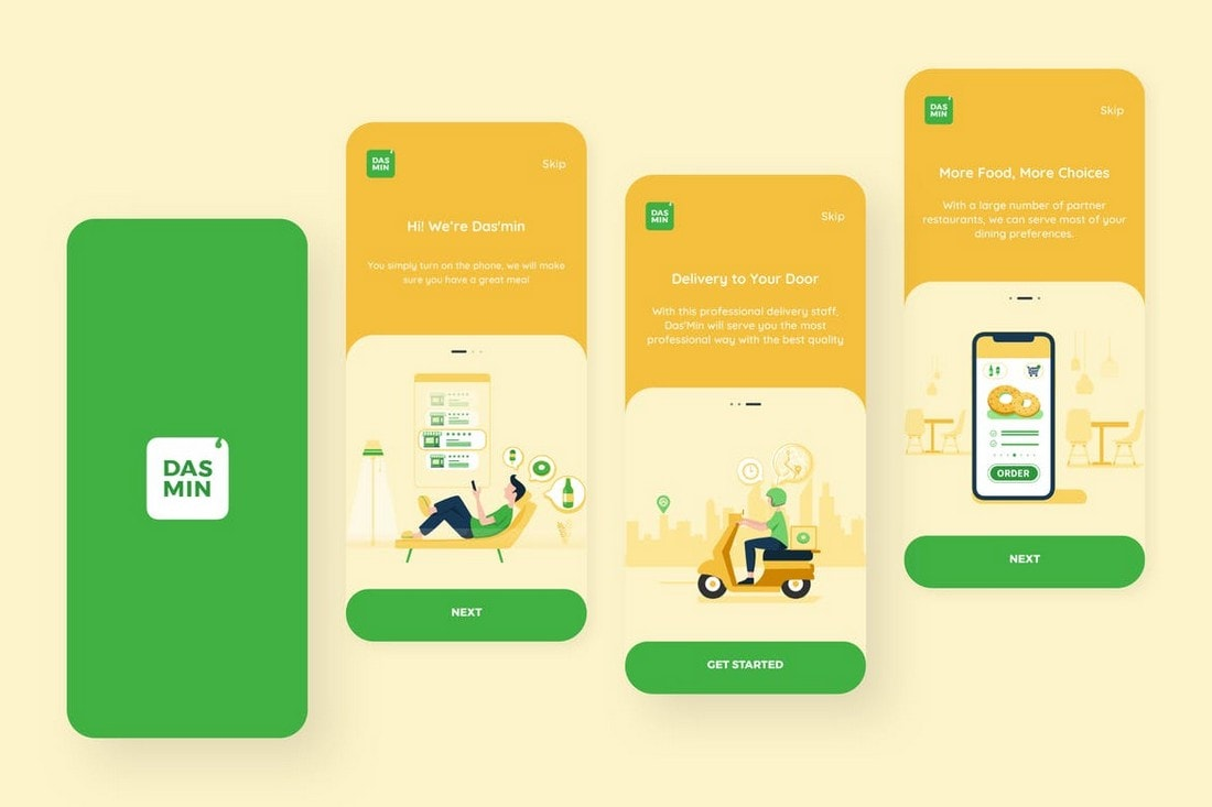 Food-Delivery-Mobile-App-Onboarding-UI-Screens 25+ Best Mobile App UI Design Examples + Templates design tips  Inspiration