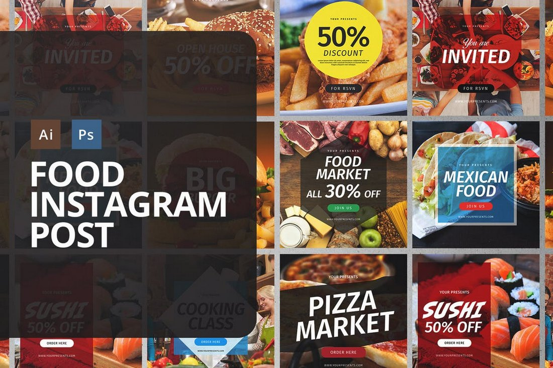 Food-Instagram-Post-Templates 30+ Best Instagram Templates & Banners design tips