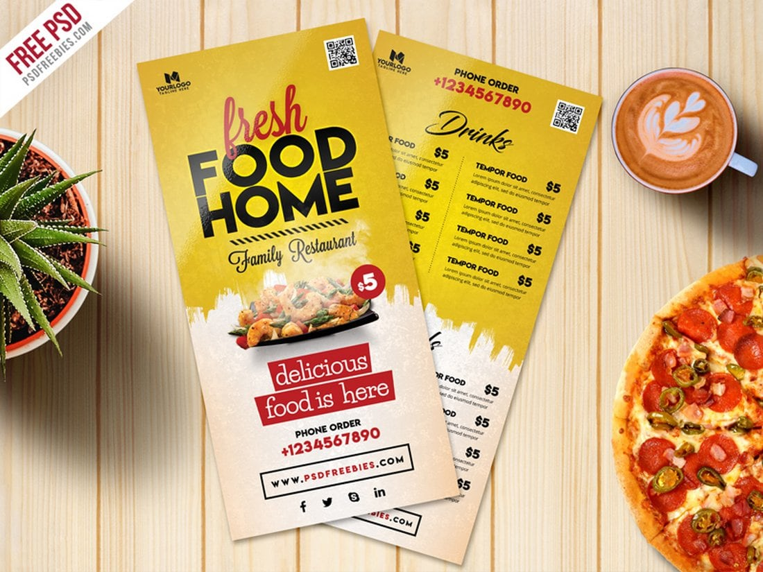 Food Menu Card PSD Free Template