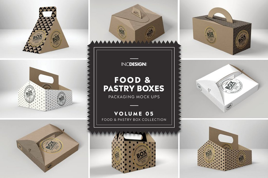Food Pastry Boxes - Carrier Boxes Mockups
